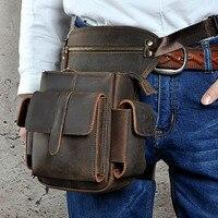 Genuine Leather Men's Thigh Drop Leg Bag First Layer Cowhide Waist Bag Brand Vintage Belt Hip Messenger Shoulder Bag
