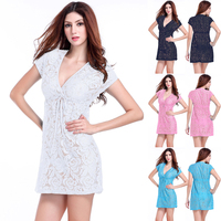 Hot Deep V Neck 2016 Adjustable Tie Casual Loose Big Lady Plus Size Sexy Lace Dresses