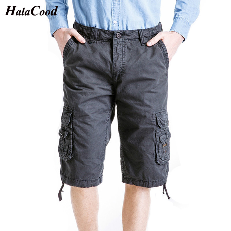 Hot Fashion New 2018 Mens Cotton Cargo Shorts Casual Loose Short Pants Military Summer Style Knee Length Plus Size Shorts Male