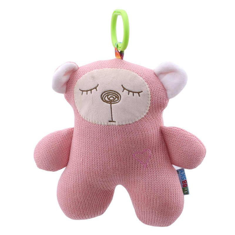 Bebê musical macio pelúcia coelho urso carrinho de criança cama pendurado boneca bonito tricô macio apaziguar brinquedo do bebê