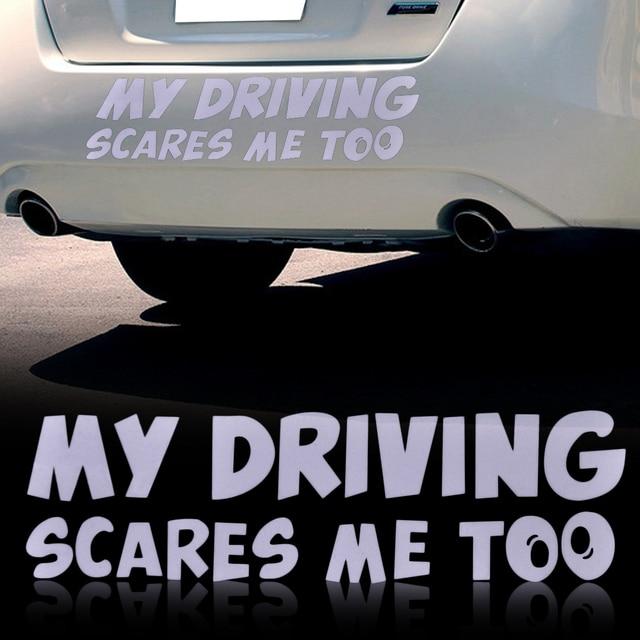Citall car stickers my driving scares me too window bumper van custom funny vinyl sticker decals