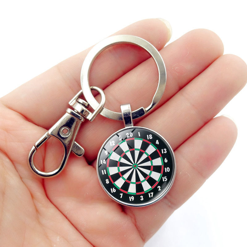 Women Time Gems Vintage Dartboard diy Keychain Dartboard Key men diy Dart Target Game Keychains Dart Sports Key Holder charm ...