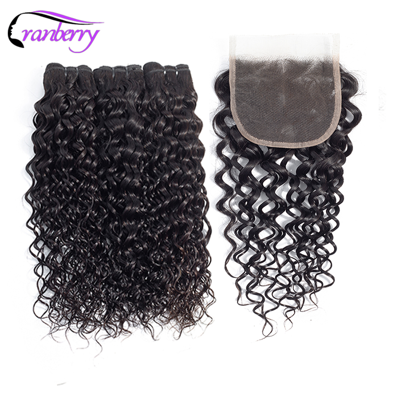 CRANBERRY Hair Water Wave Bundles With Closure Malaysian Hair Bundles With Closure Remy Hair 3 Bundles