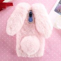 For Fundas Huawei Nova 2i Case 3D Cute Hairy Rabbit Cover Rhinestone Soft TPU Case For