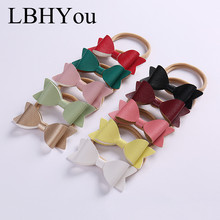 10pcs PU Leather Elastic Nylon Headbands For Girls,Knot Bows Soft Hairbands,Newborn Baby Bowknot Hair Accessories