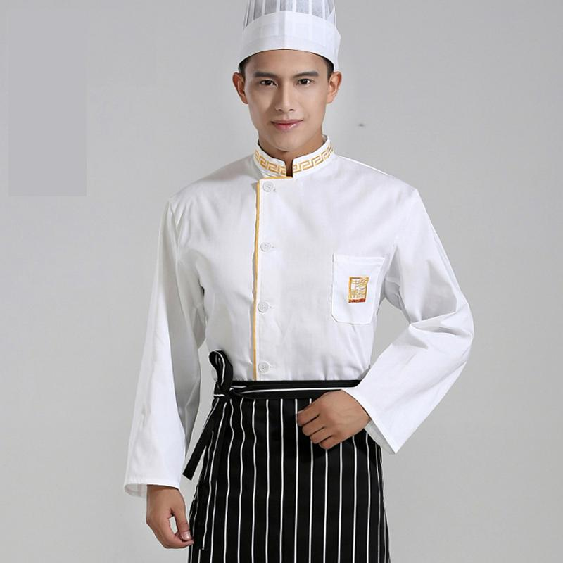 Hotel Chef Wear Autumn Clothing Winter Kitchen Long Sleeved Yellow The Great Wall Coverall Japan Chinese Work Suits J060