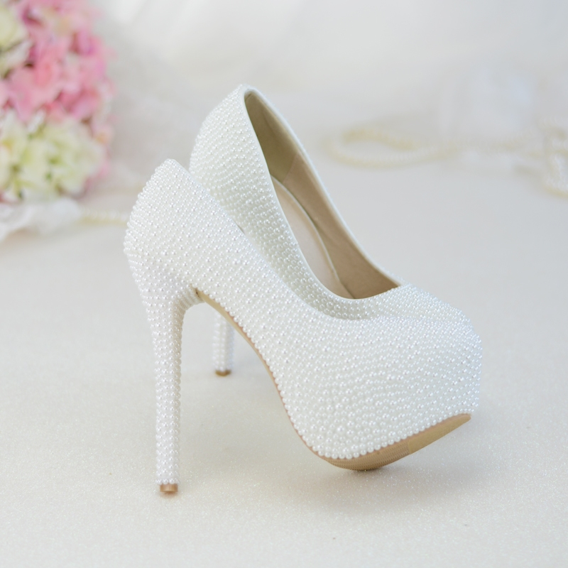 latest pretty cheap on feet images of Wedding Shoes Pure White Pearls High Heels Platform Bride ...