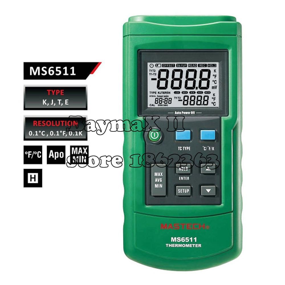 MS6511 Single Channel Digital K,J,T,E Thermometer maxgboon original mastech ms6511 single channel digital thermometer j k t e thermometer thermocouple type temperature detector