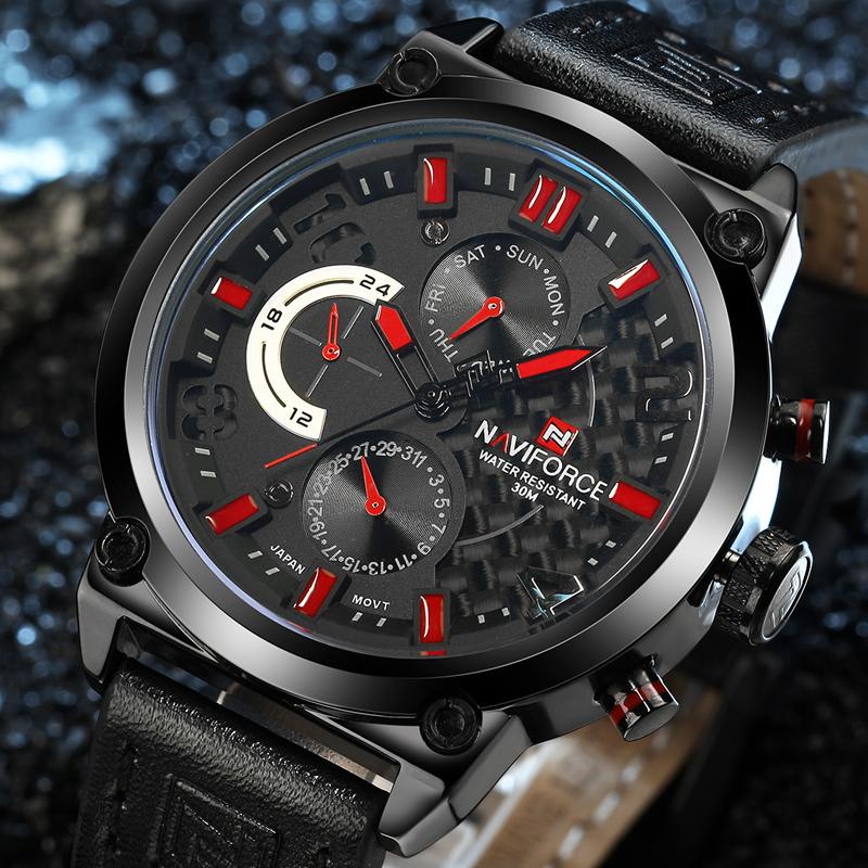 Prix pour 2016 NAVIFORCE Montres Hommes Marque De Luxe Mode Casual Bracelet À Quartz montres En Cuir Imperméable À L'eau Montre de Sport Homme Horloge