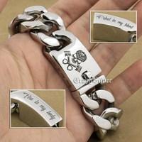 9 Lengths Deep Engraved Skull Engine 316L Stainless Steel Mens Biker Rocker Punk Bracelet Engraving Service 5D106
