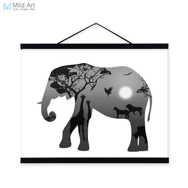 Elephant Black White Nordic Minimalist Animal King Silhouette Framed ...