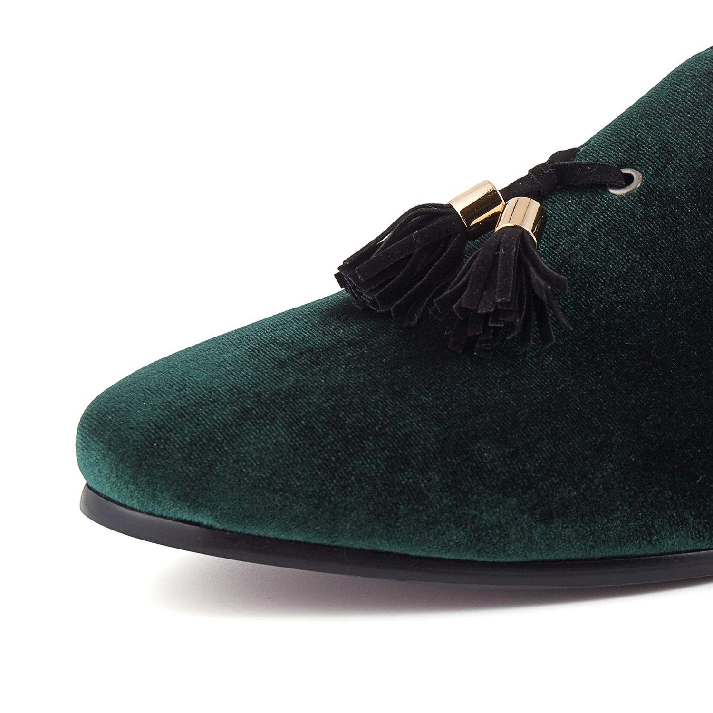 Taille Mens Mariage Chaussures rouge 14 vert Appartements Vert 6 Harpelunde Glands Velours De Noir Mocassins bleu qtz5d