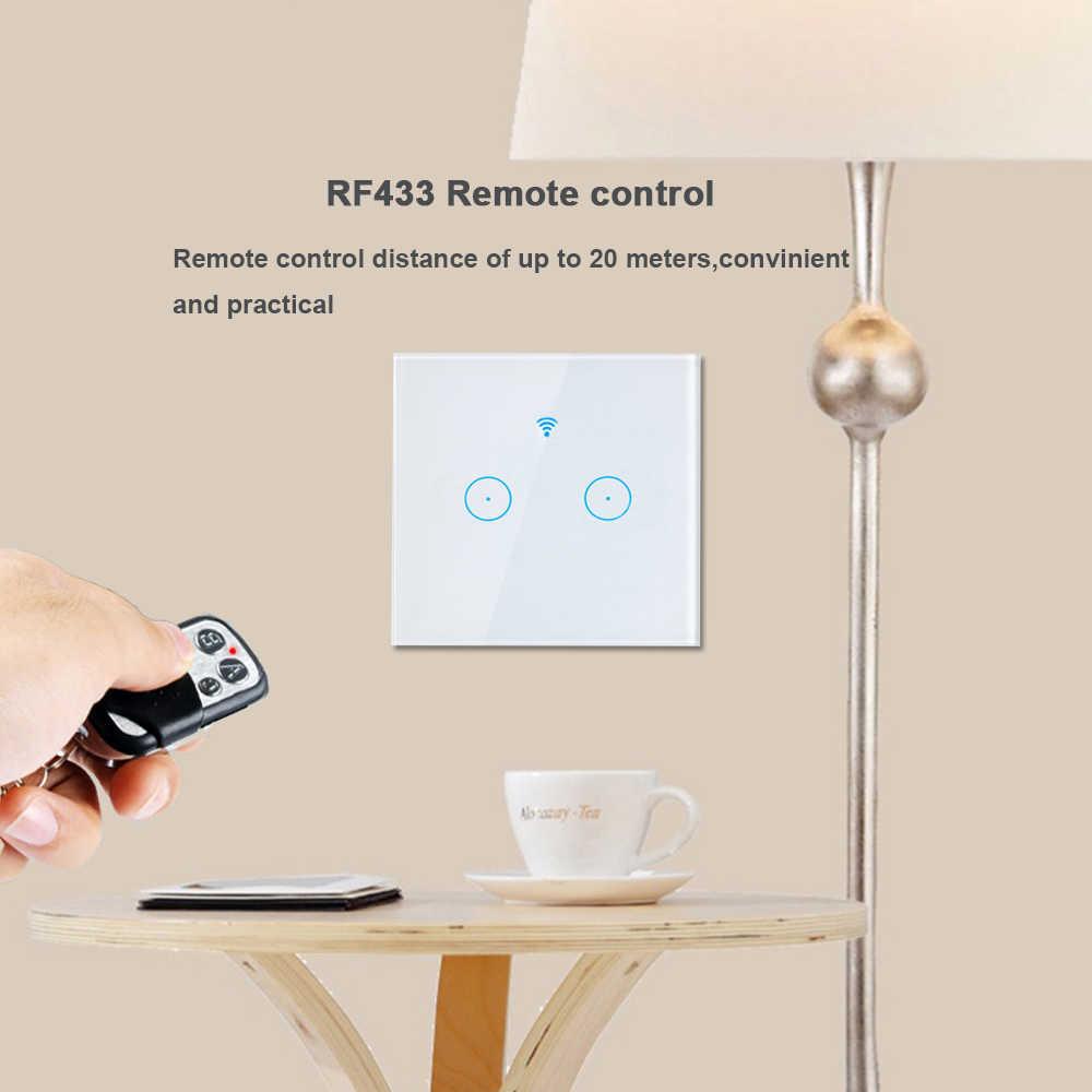Eruiklink EU/UK przełącznik zdalny kontrola Wifi bezprzewodowy pilot zdalnego włącznik światła, dotykowy przełącznik ścienny pracować z Broadlink RM PRO inteligentnego domu