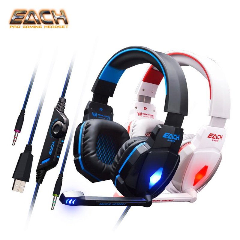 KOTION EACH G4000 Pro Noise Cancelling Gaming Headset Headphones with Mic LED Light Bass Surround Headband for Computer PC insermore active noise cancelling headphones wired bass stereo surround headset with mic flight headband for iphone xiaomi iq 3