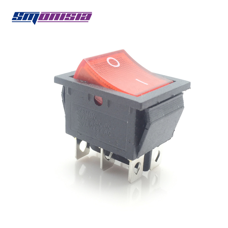 100pcs Ship Type Switch KCD4 with Red Light 6 Feet 2 Flies Power Double Row Rocker Button Switch