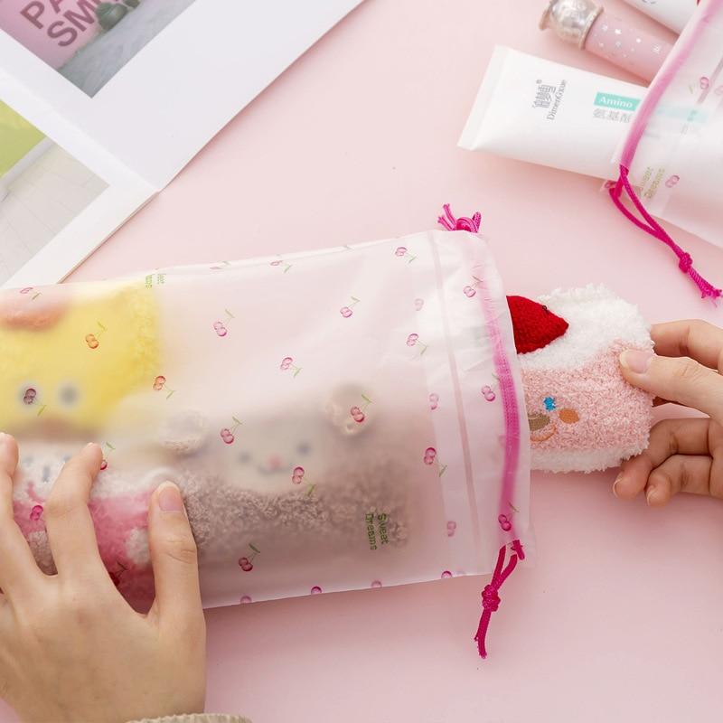 2PCS Drawstring Bags Storage Bags Travel Transparent Waterproof Wash PVC Drawstring Travel Underwear