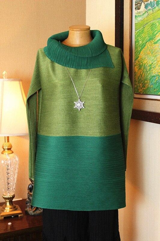 shirt Spéciale Gratuite Livraison Long Longues Vert Asymétrique Manches fuchsia T À Offre Chemise Fold Patchwork Miyake PSSpwxqdO