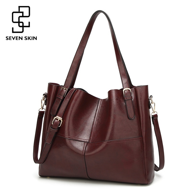 SEVEN SKIN Brand Solid Leather Shoulder Bags Luxury Handbags Women Bags Designer Large Capacity Female Tote Bag Women Bag Zipper seven skin brand women oil wax leather shoulder bags vintage designer handbags female big tote bag women s messenger bags 2017