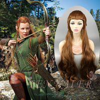 Movie 100cm The Hobbit Tauriel Brown Long Braided wig Craig Hal role play hair The Lord of the Rings elf women wig+Wig Cap