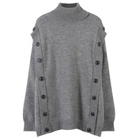 New Fashion 2019 Women Loose Knitted Sweater Turtleneck Full Sleeve with Buttons Autumn Spring Female Pullovers Solid Color