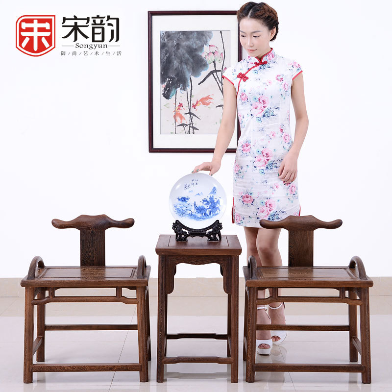 Song Yun Chinese Rosewood Furniture Wood Short Head Chicken Wing Wood Chair Backrest Stool Small Living Room Table