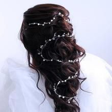 120cm Lenght Crystal Beads DIY Wedding Bridal Head chain Bride Women Prom Headband Head Decorations Hair Jewelry Accessories