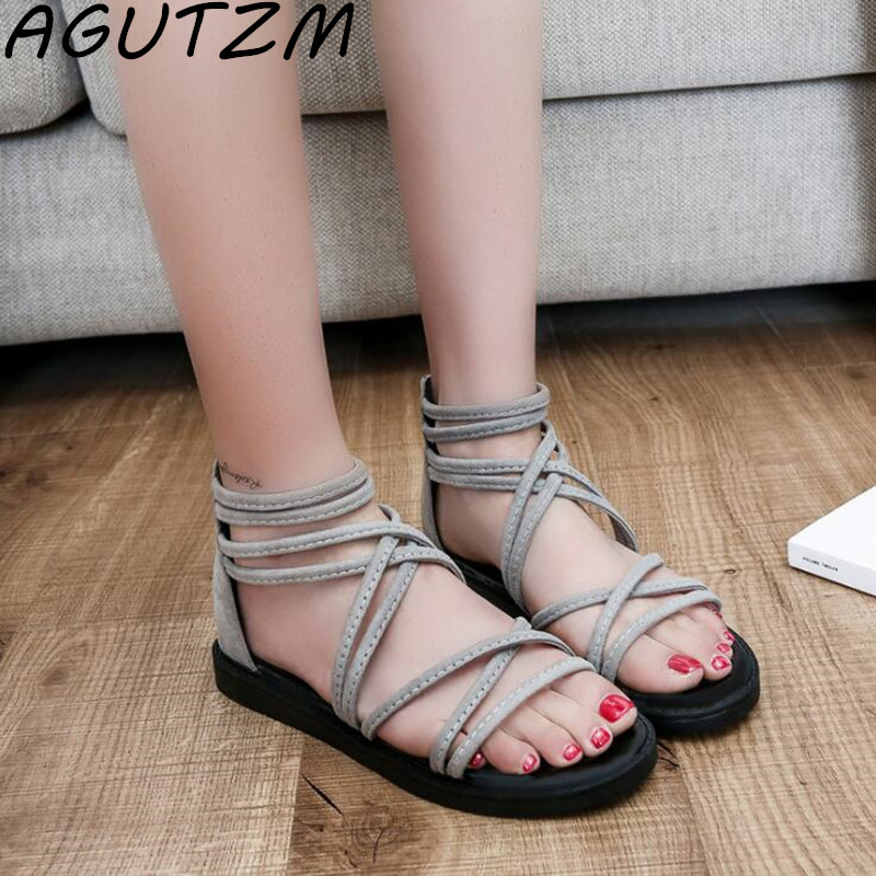 AGUTZM Women Sandals Fashion Summer Shoes Women Gladiator Sandals Summer Cross Tied Shoes Female Ladies Sandals Zapatos Mujer summer sandals women clogs beach slipper women shoes casual sneakers women flats sandals ladies shoes zapatos mujer