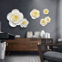 6 шт. Смола 3D настенная креативная Декоративная скульптура живопись спальня Фреска телевизор диван настенные аксессуары цветы настенные ук
