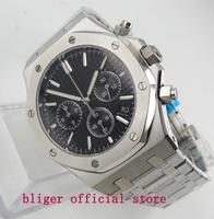 Luxury Full Steel 43mm Black Big Dial Stainless Steel Quartz movement mens Watch Multifuntion