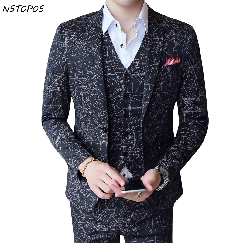 Designer Suits Striped 3 Pieces Geometrical Print Stripe Suit Social Club Party Wedding Suits Men Smoking Masculino Slim Fit