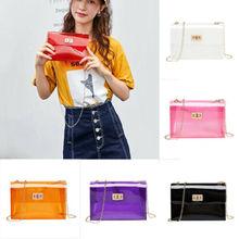 Women Transparent PVC Clear Crossbody Jelly Bag Tote Handbag Shoulder Bag Purse