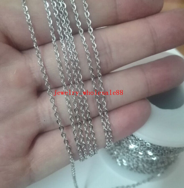 5M//10M In Bulk Jewelry Finding Thin 1.5mm Oval Link Chain Stainless steel Silver
