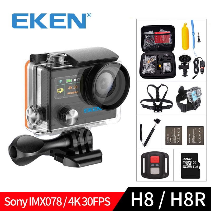 EKEN H8 H8R Ultra HD 4K 30FPS WIFI Action Camera 30M waterproof 12MP 1080p 60fps DVR underwater go Helmet extreme pro sport cam action camera ultra hd 4 k 30fps wifi sport cameres original eken h8 h8r 2 0 170d dual len underwater waterproof helmet cam