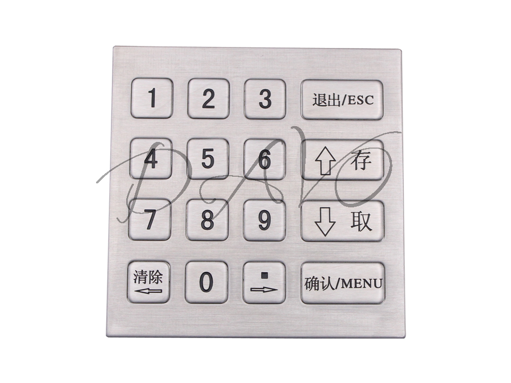 4x4 Metal Matrix Keypad IP65 Stainless Steel Industrial Keyboard USB Numeric Keyboard Silicone Waterproof