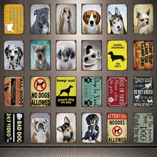 [ Kelly66 ] Pets No Dogs Allowed Bad Dog Pug Dalmatian Metal Sign Tin Poster Home Decor Bar Wall Art Painting 20*30 CM Size Dy86