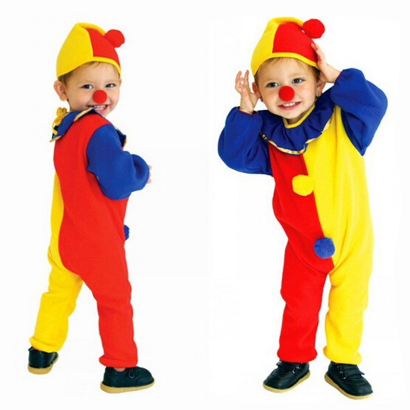 Halloween Cosplay Costumes Children Kids Baby Jumpsuits & Rompers+Hat+Nose Carnival Clown Circus  Performance Clothing Party