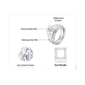 Image 5 - JPalace 2ct prenses nişan yüzüğü seti kadınlar için 925 ayar gümüş yüzük alyanslar kanal gelin seti gümüş 925 takı