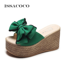 ISSACOCO Women Summer Mid Heel Butterfly-knot Slippers Non-slip Breathable Indoor Zapatos Mujer