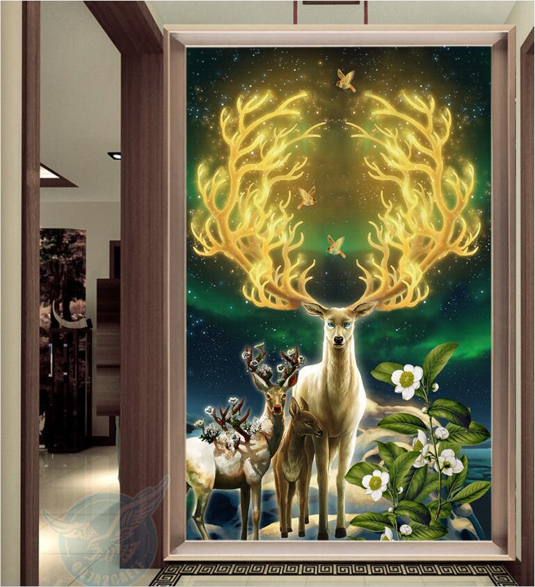 WDBH Custom Mural Photo 3d Wallpaper Dream Sky Golden Deer Porch Decoration Painting 3d Wall Murals Wallpaper For Living Room