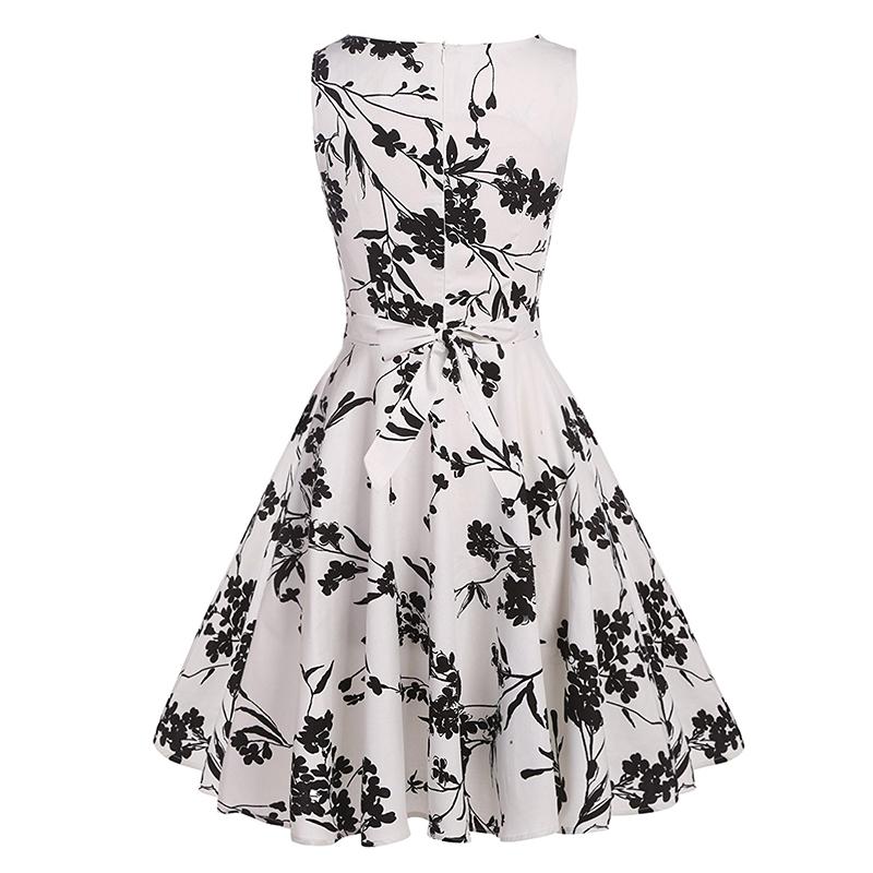 Kostlish Cotton Summer Dress Women 2017 Sleeveless Tunic 50s Vintage Dress Belt Elegant Print Rockabilly Party Dresses Sundress (77)