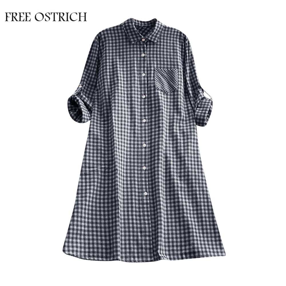 FREE OSTRICH Casual Women's Plus Size Autumn Plaid Tunic Button Down Long Sleeve Gown Stand Pocket Shirt Dress