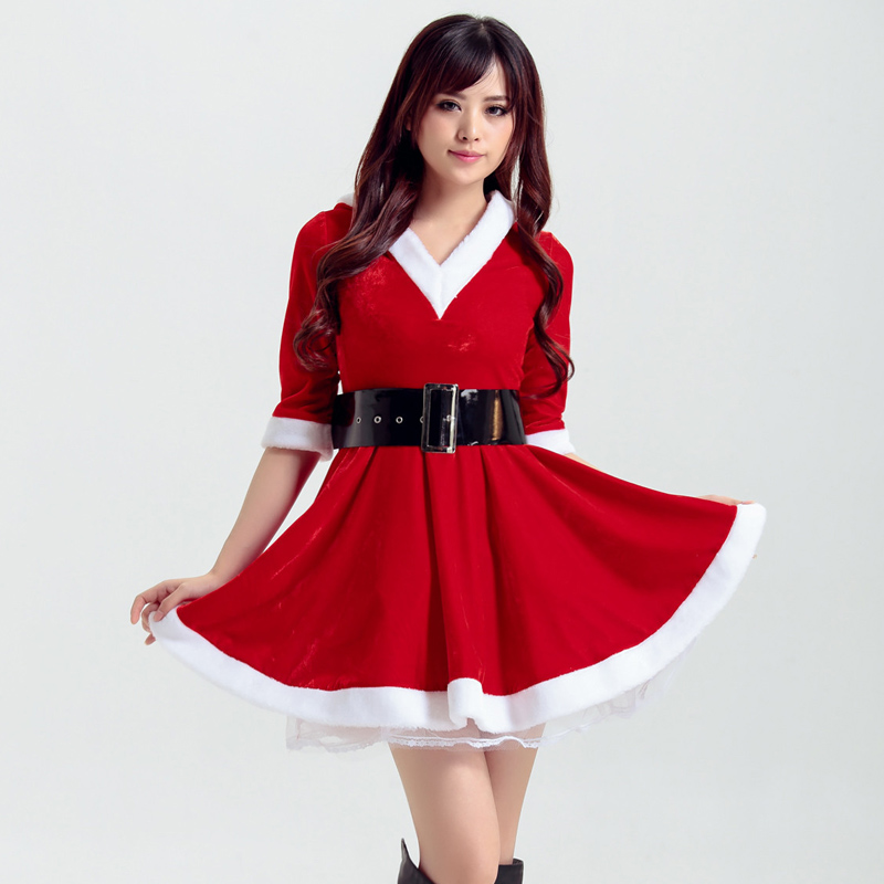 Red Green Santa Claus Outfit Ladies Merry Christmas XMAS Mini Dress Hooded
