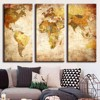 Vintage World Map 3 Panel Canvas Painting Oil Painting Print On Canvas Home Decor Art Wall