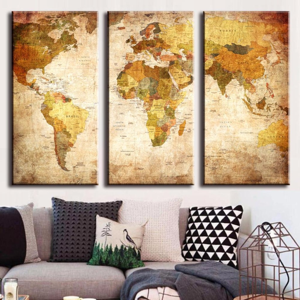 ᗐVintage World Map 3 Panel Canvas Painting Oil Painting Print On ...