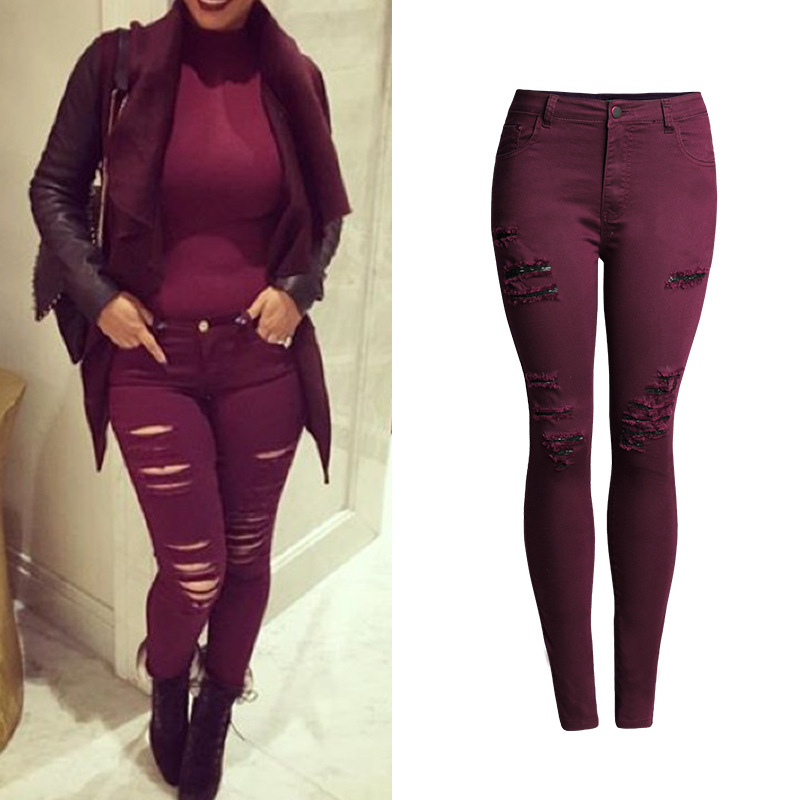 2017 Women`s Popular Burgundy Jeans Sexy beggar hole Skinny Elastic Denim Pants  High Waisted Jeans Femme Plus size 4XL - Online Get Cheap Burgundy Skinny Jeans -Aliexpress.com Alibaba Group