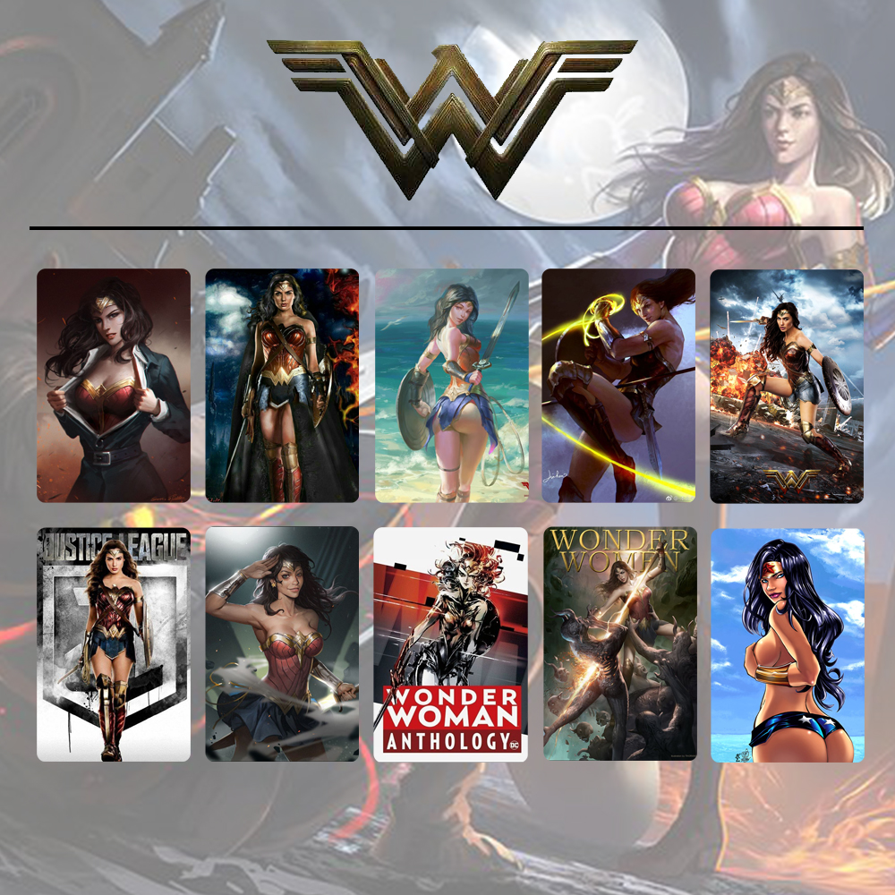 10pcs/set Comics Justice League Wonder Woman Card Stickers DIY Frosted Decal Phone Waterproof Stickers Souvenir Collection Gift