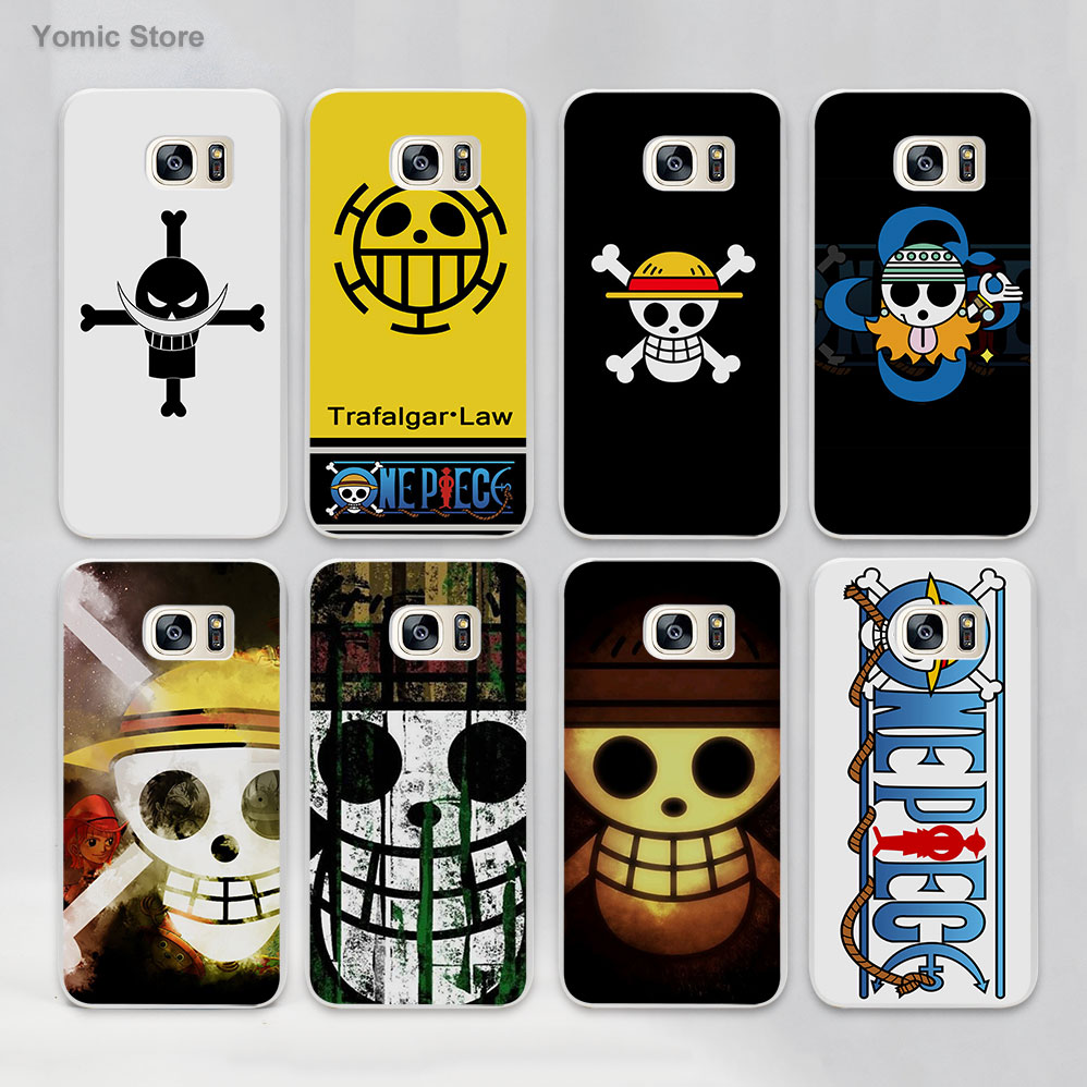 one piece luffy logo anime hard White Case Cover for Samsung Galaxy s7 s6 edge s4 s5 mini note 5 note4