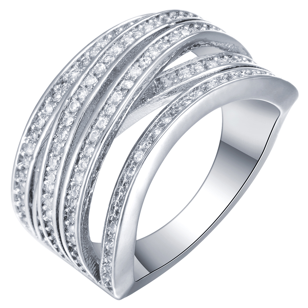Hot Sale silver plated Cross Fashion White gold-color AAA Zircon Engagement Weddding bijoux Finger Rings Fine Jewelry