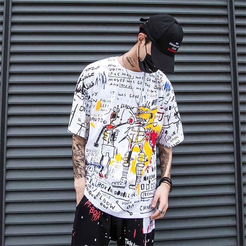 Men Hip Hop Loose T-shirt 2019 Summer Half Sleeve  T-shirt Casual Tshirt Streetwear 2019 Fashion Cartoon Graffiti Print T Shirts