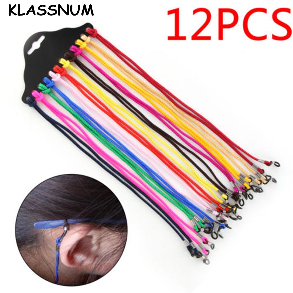 12PCS Nylon Glasses String Cordon Lunettes Chaines Stretch Sunglasses Rope Eyeglass Cords Chains Glasses Accessories